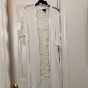 Kimono - White - Mid-Sleeve - Crochet Back